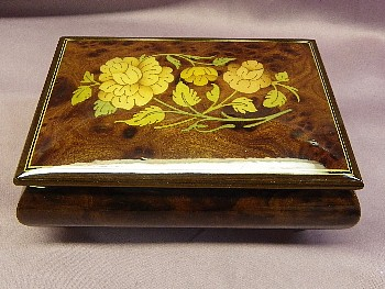 Floral Inlaid Italian Musical Jewelry  Box # SMB-100FB