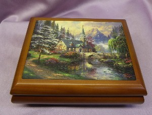 Thomas Kinkade Dogwood Chapel Music Box  #12007