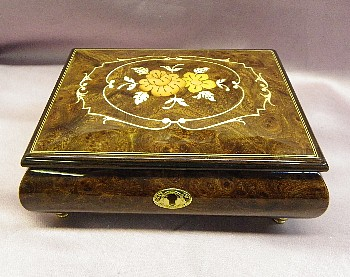 Floral Inlay Rich ELM Wood Italian Musical Jewelry  Box with Lock & Key  SAVE $50.00     #SMB-120F