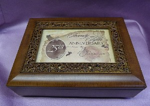 Rosewood Sculpted Inlay Photo Frame Music Box #16699