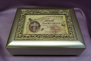 Champagne Sculpted Inlay Photo Frame Music Box  #16760