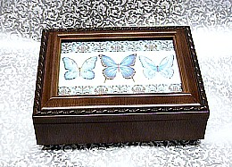 Blue or Purple Butterflies Rosewood Box    ---  Blue #BB2044   or   Purple #PB2044   -----  Reg. $85.00 Now $65.00
