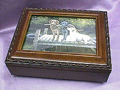 Labrador  Dogs Rosewood Music Box  # 3dogs    -----  Reg. $85.00 Now $65.00
