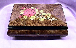 Rose Inlaid Italian Musical Jewelry  Box  #4615gr