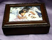 African American Little Angels  Rosewood Music Box  #mb240  -- Reg. $85.00  Now $65.00  Customized