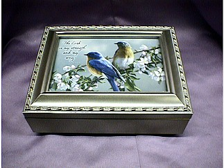 Watchful Blue Birds Champagne Music Box  #bluebirds   ---Reg. $85.00 Now $65.00 - Customized