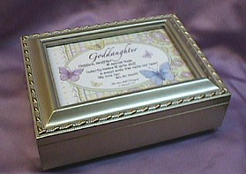 Goddaughter Silver Photo Frame Musical Jewelry Box  #goddaught