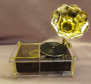 Gramophone Record Player Musical Trinket Box with Pull-Out Drawer
