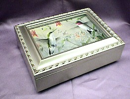 Hummingbirds  Champagne Silver Music Box   # HB044  --- Reg. $85.00 Now $65.00