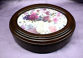Floral  Oval  Rosewood Music Box  #mb378  --- Reg. $85.00 Now $65.00