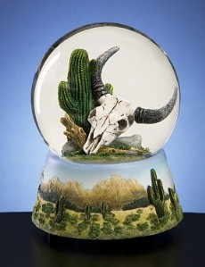 Cactus with Skull Musical Waterglobe #skull